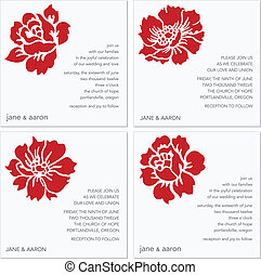 フレーム, ベクトル, セット, 花, 赤