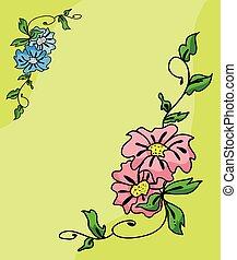 フレーム, ベクトル, 花, カラフルである