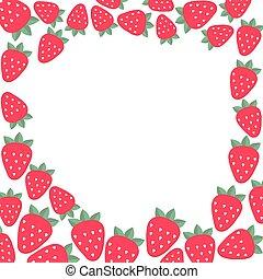 フレーム, ベクトル, strawberries., テンプレート, design.