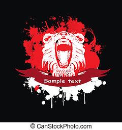 フレーム, ライオン, リボン, 赤