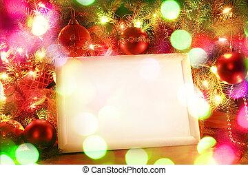 フレーム, ライト, クリスマス