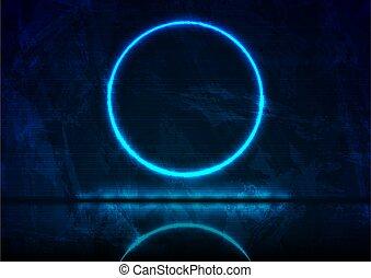 フレーム, 円, 青, グランジ, ネオン, 背景, 暗い