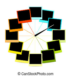 フレーム, 写真, 創造的, デザイン, 時計