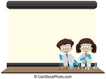 フレーム, 子供, テンプレート, 実験室, 幸せ