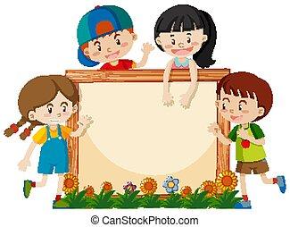 フレーム, 子供, 庭, テンプレート, 幸せ
