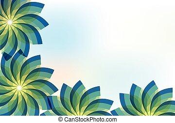 フレーム, 抽象的, ベクトル, デザイン, 背景, 緑, 花, イメージ