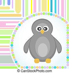 フレーム, 挨拶, ベクトル, デザイン, テンプレート, カード, ペンギン