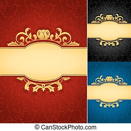 フレーム, 旗, 優雅である, 金