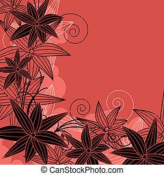 フレーム, 明るい, 花, 花, 輪郭, 赤