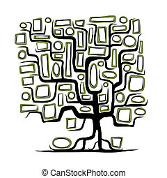 フレーム, 概念, 木, 空, 家族