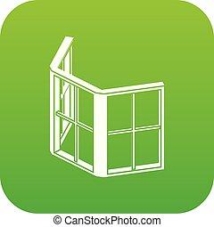 フレーム, 窓, ベクトル, 緑, ファサド, アイコン