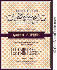 フレーム, 結婚式, テンプレート, 招待, 旗, リボン