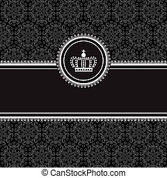 フレーム, 背景, 黒, ダマスク織
