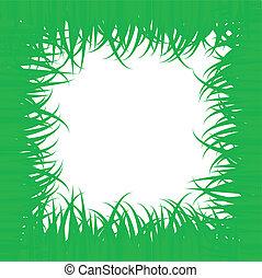 フレーム, 草, 緑, -vector