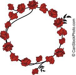 フレーム, 赤いバラ, 花