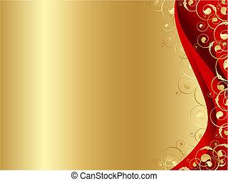 フレーム, 金, 飾られる, 赤