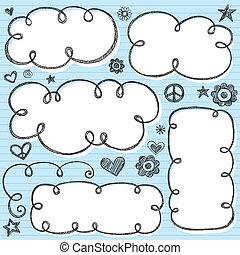 フレーム, 雲, sketchy, ベクトル, swirly
