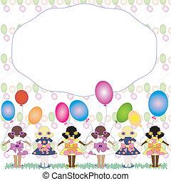 """フレーム, balloons""""., :""""girls"""