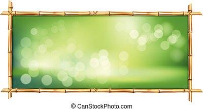フレーム, bokeh, 緑の背景, 茎, 竹, ボーダー, 長方形