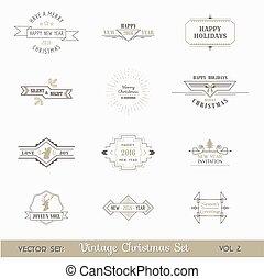 フレーム, calligraphic, 要素, ページ, クリスマス, ベクトル, 装飾, デザイン, 型, set: