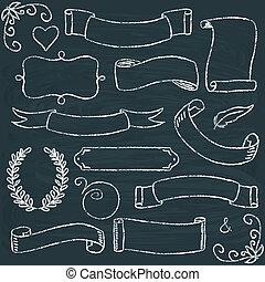 フレーム, hand-drawn, セット, 黒板