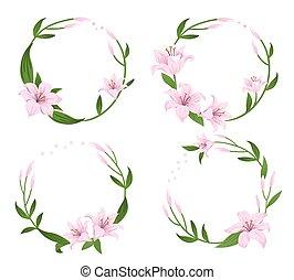 フレーム, illustrations., 販売, 結婚式, birthday., カード, hand-drawn, 花, セット, ベクトル, 円, デザイン, 旗, ピンク, lilies.