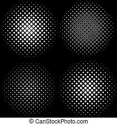 フレーム, patterns., 4, セット, ハーフトーンフレーム