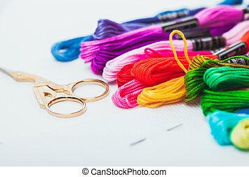 フロス, 刺繍, 針