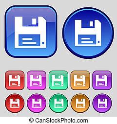 フロッピー, ボタン, あなたの, セット, アイコン, 12, 印。, 型, design.