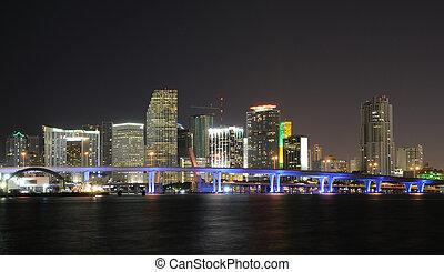 フロリダ, アメリカ, マイアミ, ダウンタウンに, スカイライン, night.