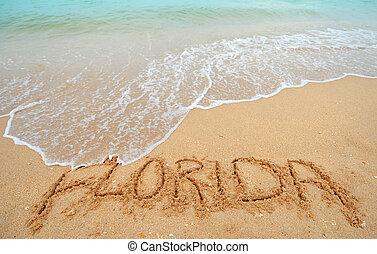 フロリダ, 書かれた, 中に, 砂
