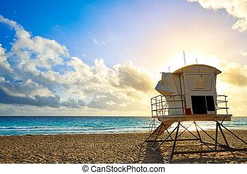 フロリダ, 私達,  lauderdale, 浜, 日の出, 城砦