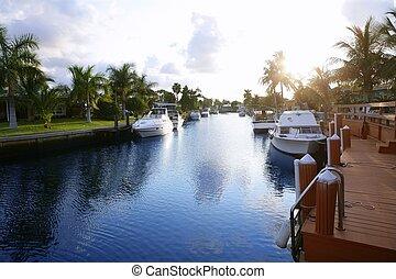 フロリダ, pompano, 浜, 水路, 中に, 夕方