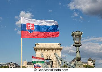ブダペスト, ハンガリー, ハンガリーの旗, 鎖, slaovak, 橋