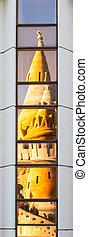 ブダペスト, 現代, halaszbastya, 反射, 妖精, 漁師, ホテル, 物語, タワー, 建築である, 要塞, aka, windows., 対照