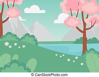 ブッシュ, ピンク, 湖, 山, 風景, 木, 花, 牧草地