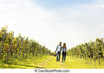ブドウ園, 恋人, 若い