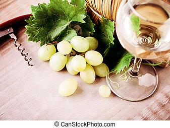 ブドウ, 情報のルート, 葉, 無作法, 木製である, 緑, 板, 背景, ワイン