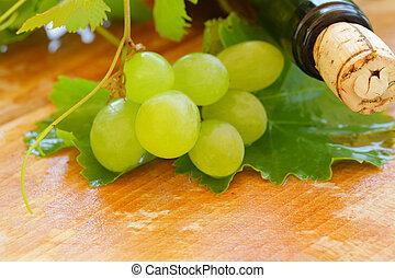 ブドウ, 背景, -, クローズアップ, びん, ワイン