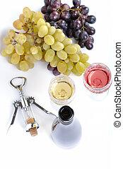 ブドウ, 隔離された, びん, 白, ガラス, aperitive, ワイン