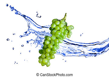 ブドウ, 隔離された, 水, はね返し, 緑の白