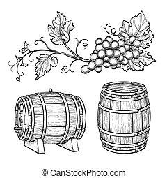 ブドウ, barrels., ブランチ, ワイン