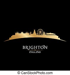 ブライトン, イギリス\, 都市 スカイライン, シルエット, 黒い背景