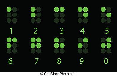 ブライユ点字, セット, 緑, 数, デジタル