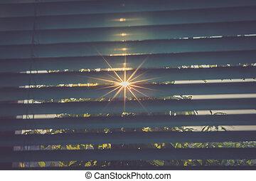 ブラインド, によって, 日光