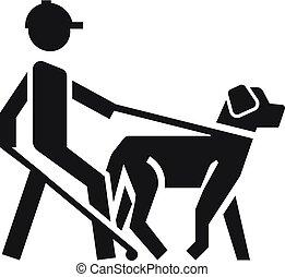 ブラインド, スタイル, ペット, 犬, 単純である, アイコン, 人