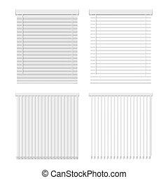 ブラインド, ベクトル, 水平な垂直線, セット, アイコン, 窓