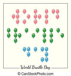 ブラインド, 概念, 形態, ポイント, ブライユ点字, 人々。, day., 社会, 世界, balloons., でき事
