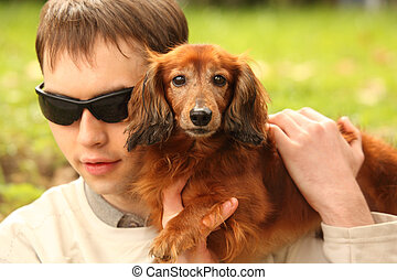 ブラインド, 若者, ∥で∥, dog-guide