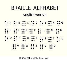 ブラインド, 視覚で, 使われた, blind., ブライユ点字, アルファベット, 人々, システム, イラスト, letters., ベクトル, impaired., 執筆, ∥あるいは∥, 蝕知